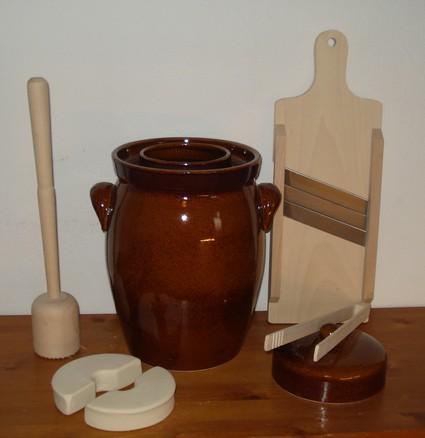 zuurkoolpot sauerkraut pot 7 liter bruin brown starterset kk-2
